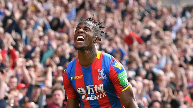 Crystal Palace's Wilfried Zaha celebrates scoring his side's first goal
