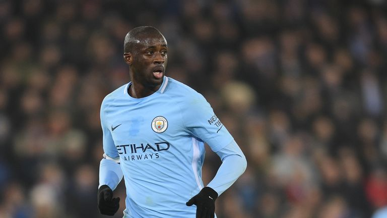 Manchester City's Yaya Toure against Leicester at the King Power Stadium
