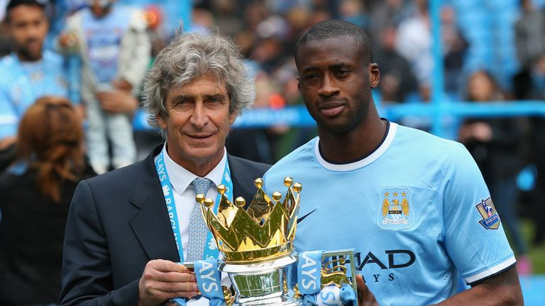 Yaya Toure won seven major trophies at City, including the 2014 Premier League
