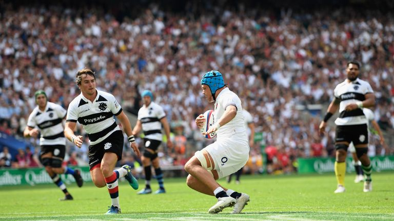 Zach Mercer's try got England right back into things after a shell-shocked start