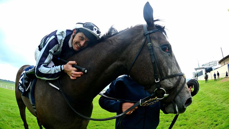 Alpha Centauri and jockey Colm O'Donoghue after winning the Tattersalls 1000 Guineas