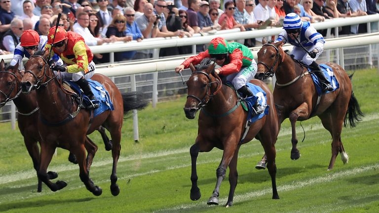 Signora Cabello (green and red silks), ridden by Jason Hart, wins at York