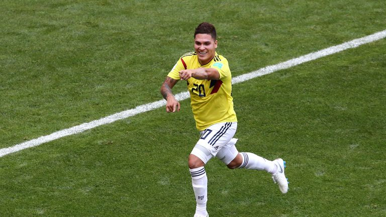 Colombia's Juan Quintero celebrates his equaliser