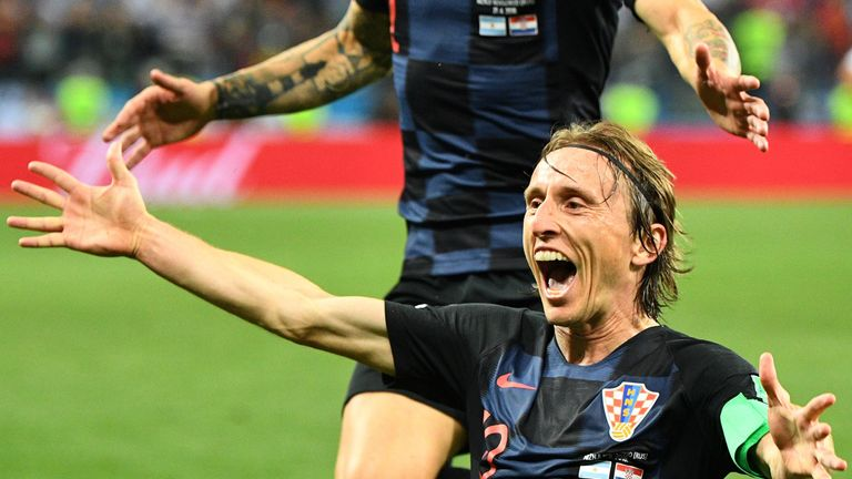 Luka Modric celebrates Croatia's second goal against Argentina