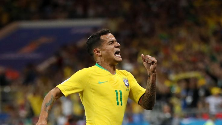 Philippe Coutinho celebrates after giving Brazil the lead against Switzerland