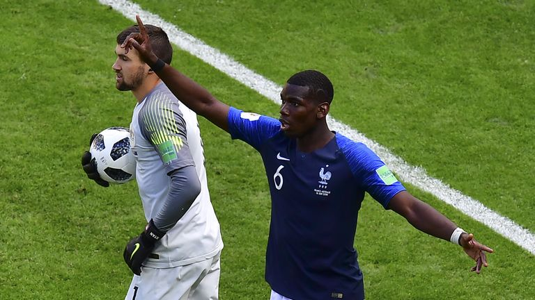 Paul Pogba appeals before goal-line technology ruled France's second goal had crossed the line