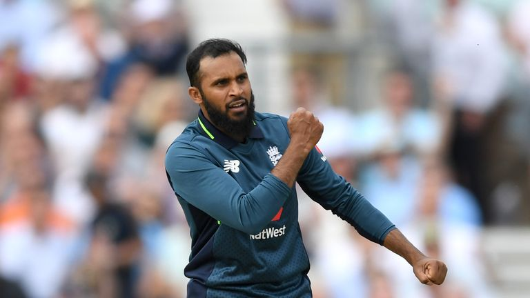 Adil Rashid claimed his 100th one-day international wicket in Cardiff
