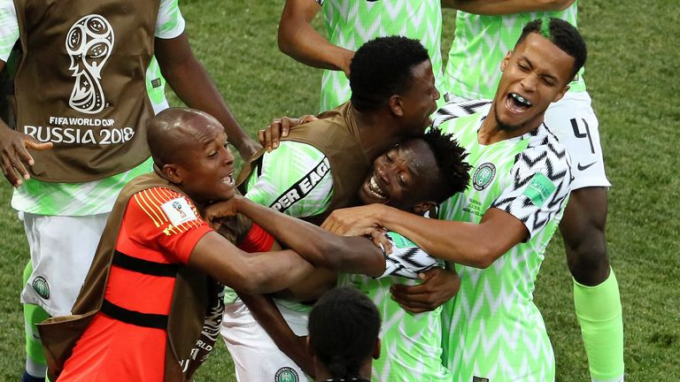 Ahmed Musa celebrates his opener with team-mates