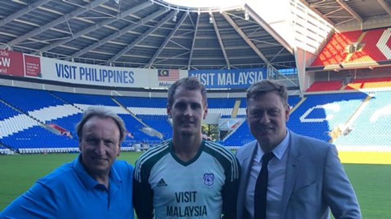 Neil Warnock, Alex Smithies and his agent Andy Evans at Cardiff City Stadium
