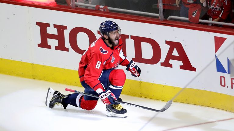 Alexander Ovechkin celebrates his opening goal for the Capitals in Game Three of the Stanley Cup finals