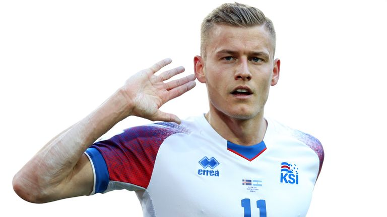Iceland's Alfred Finnbogason celebrates after scoring his team's first goal
