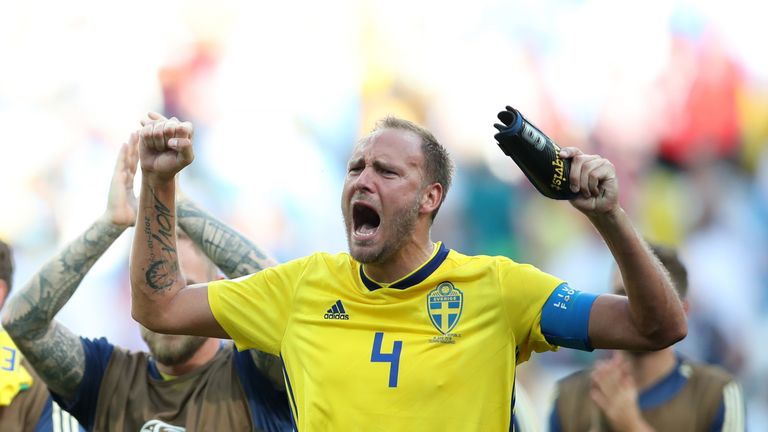 Andreas Granqvist celebrates following Sweden's victory in the group F match against Korea Republic