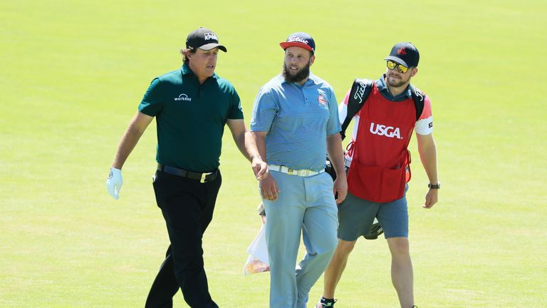 Mickelson, who was playing with Beef Johnston, hit a moving ball to prompt rumours he had withdrawn