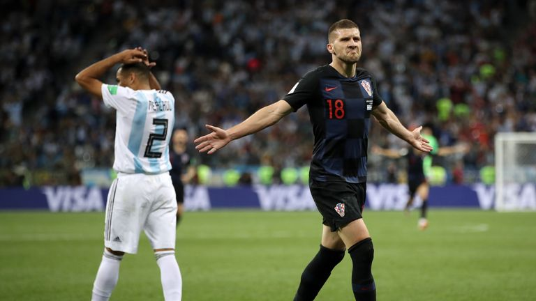 Ante Rebic celebrates Croatia's opener against Argentina