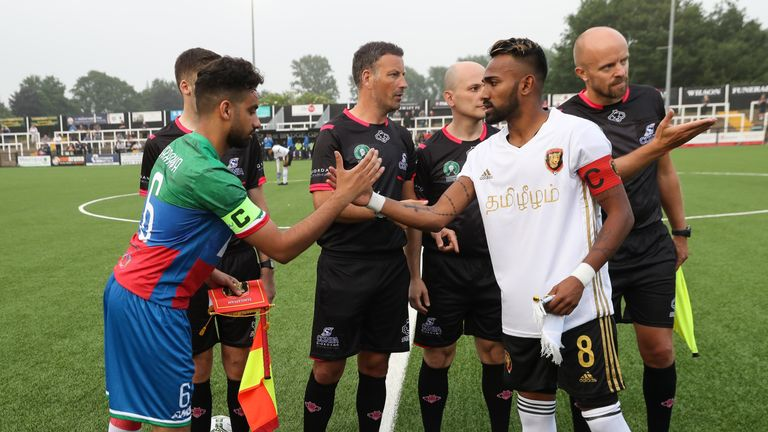 The captains shake hands before the CONIFA World Football Cup 2018 match between Barawa v Tamil Eelam at Bromley on May 31, 2018 in London, England. (Photo by Con Chronis/CONIFA)