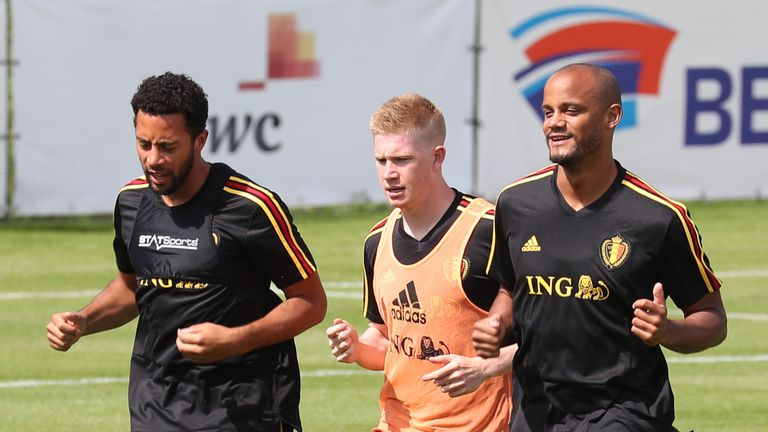 Vincent Kompany and Kevin De Bruyne take part in Belgium training