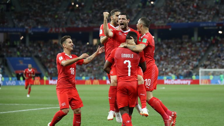 Blerim Dzemaili of Switzerland celebrates with teammates after scoring his team's first goal during the 2018 FIFA World Cup Russia group E match between Switzerland and Costa Rica at Nizhny Novgorod Stadium on June 27, 2018 in Nizhny Novgorod,