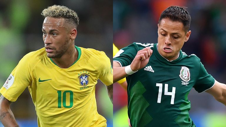 Brazil forward Neymar (left) and Mexico striker Javier Hernandez go head to head in Samara on Monday
