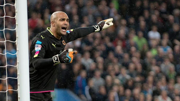 Birmingham, ENGLAND- October 15: Carl Ikeme of Wolverhampton Wanderers in action during the Sky Bet Championship match between Aston Villa and Wolverhampton Wanderers at Villa Park on October 15, 2016 in Birmingham, England (Photo by Nathan Stirk/Getty Images)..