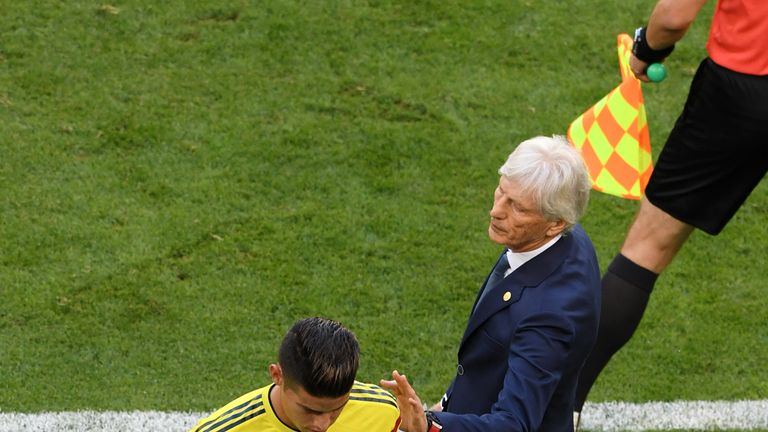 Jose Pekerman, Head coach of Colombia speaks to James Rodriguez of Colombia who looks dejected as he is substituted off due to injury during the 2018 FIFA World Cup Russia group H match between Senegal and Colombia at Samara Arena on June 28, 2018 in Samara, Russia.