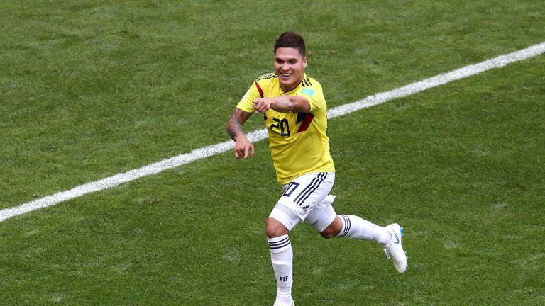 Colombia's Juan Quintero celebrates his equaliser