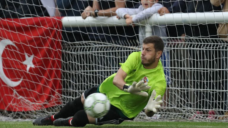 Karpatalya goalkeeper Bela Fejer makes a save during the penalty shootout in the CONIFA World Football Cup final against Northern Cyprus at Enfield (Con Chronis/CONIFA)