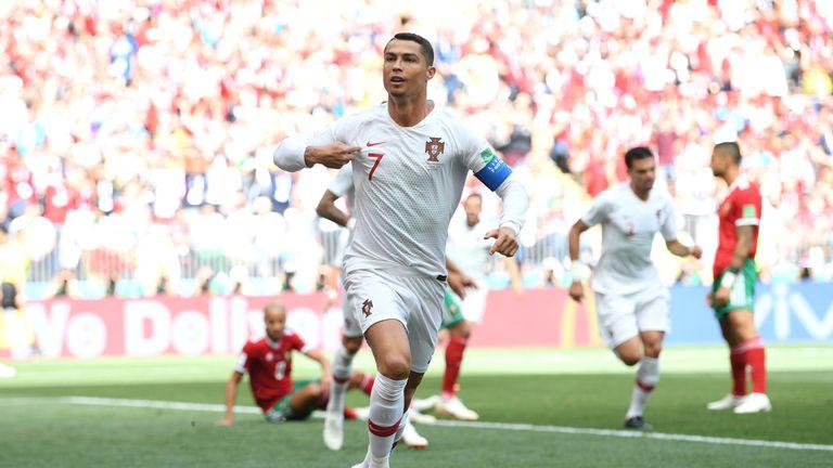 Cristiano Ronaldo celebrates his opener against Morocco at Luzhniki Stadium on June 20, 2018