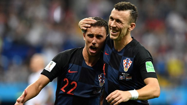 Josip Pivaric celebrates during Croatia's win over Iceland at the 2018 World Cup