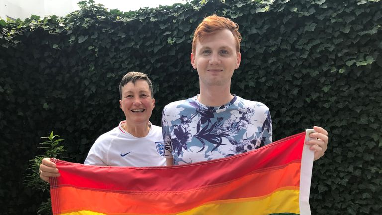 Di Cunningham and Joe White have formed a supporters group called 3 Lions Pride for England supporters who are LGBT