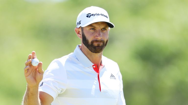 Dustin Johnson looked in danger of losing his ball on the sixth