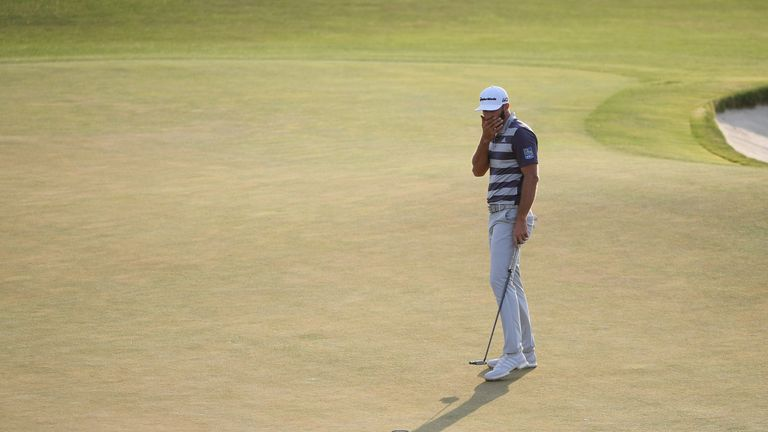 Dustin Johnson was not rewarded for a great shot into the 18th on Saturday