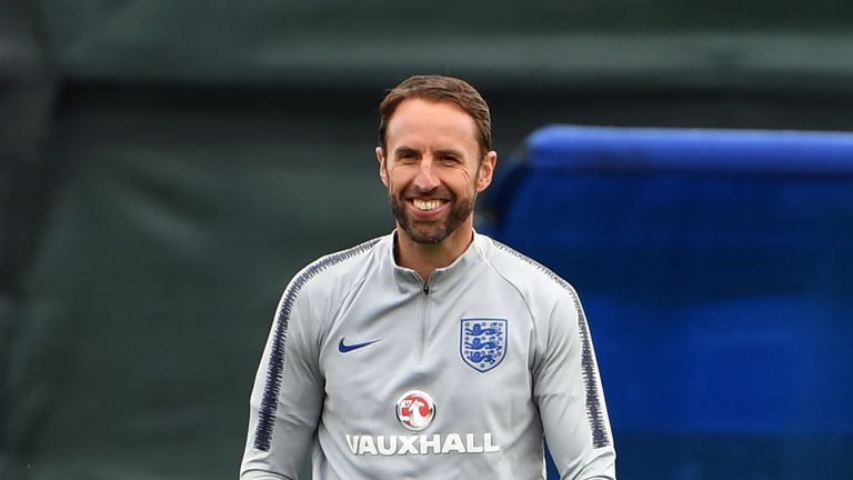 Gareth Southgate spent a large part of England's training session with his right hand in his pocket after dislocating his arm yesterday.