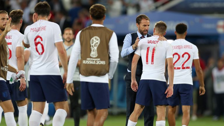 England boss Gareth Southgate consoles Vardy after the game