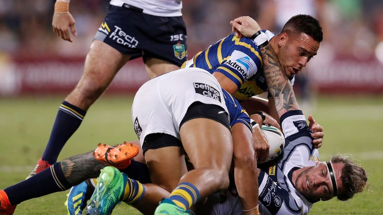 The Cowboys' Ethan Lowe is shackled by the Eels' defence during their recent NRL clash