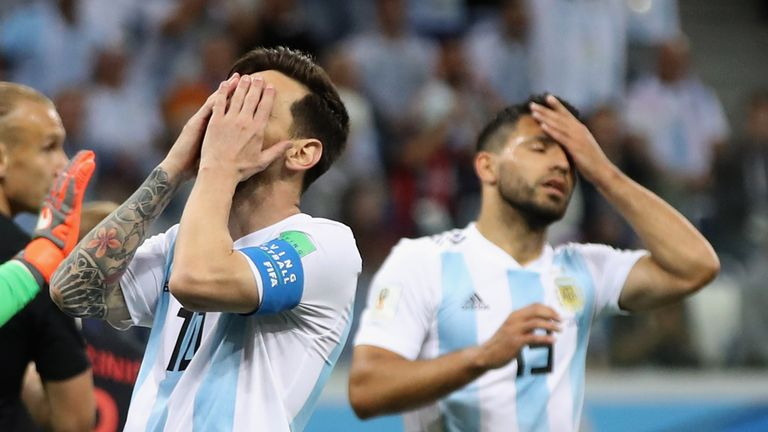 Lionel Messi and Sergio Aguero react to a missed chance during Argentina's World Cup defeat to Croatia