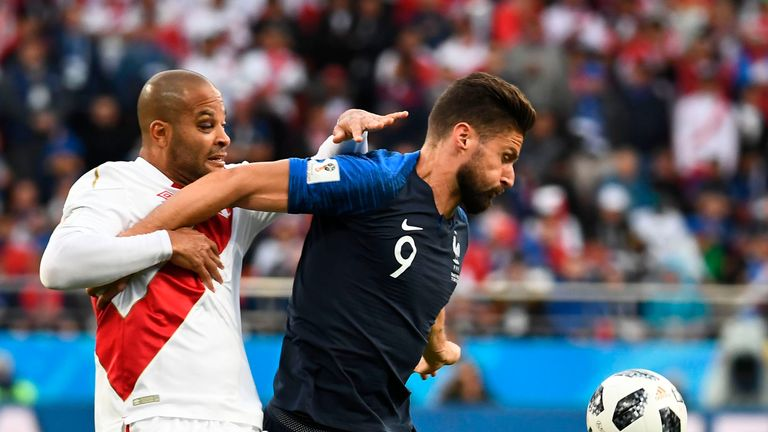 Giroud showcased his hold-up play as France got the three points