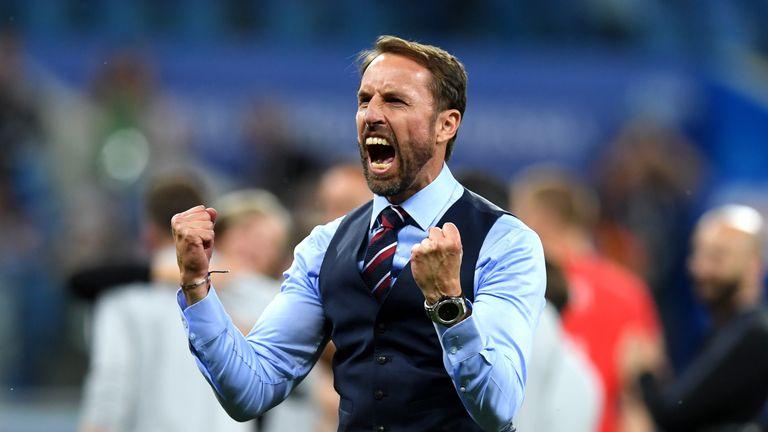 Gareth Southgate celebrates England's 2-1 over Tunisia
