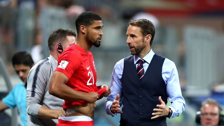 Gareth Southgate and Ruben Loftus-Cheek during the 2018 FIFA World Cup Russia group G match between Tunisia and England at Volgograd Arena on June 18, 2018 in Volgograd, Russia.