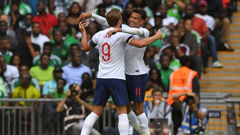 Harry Kane celebrates  with Dele Alli in England's match against Nigeria at Wembley
