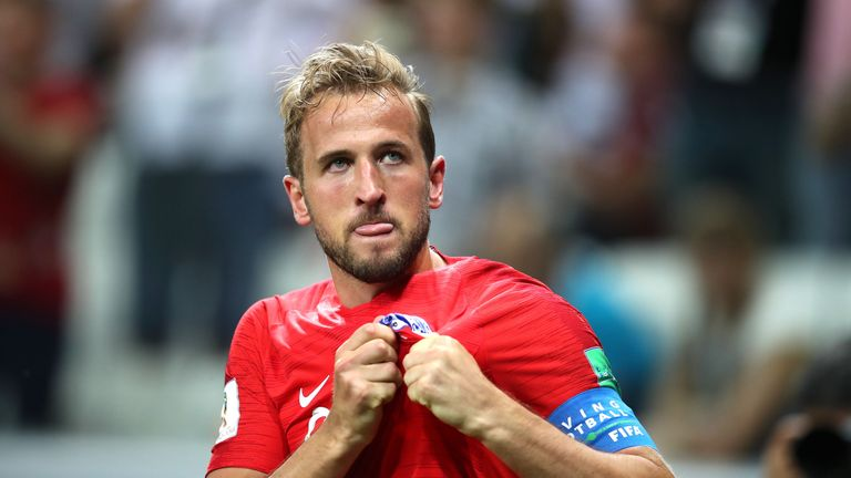 Harry Kane celebrates scoring his and England's second goal of the game