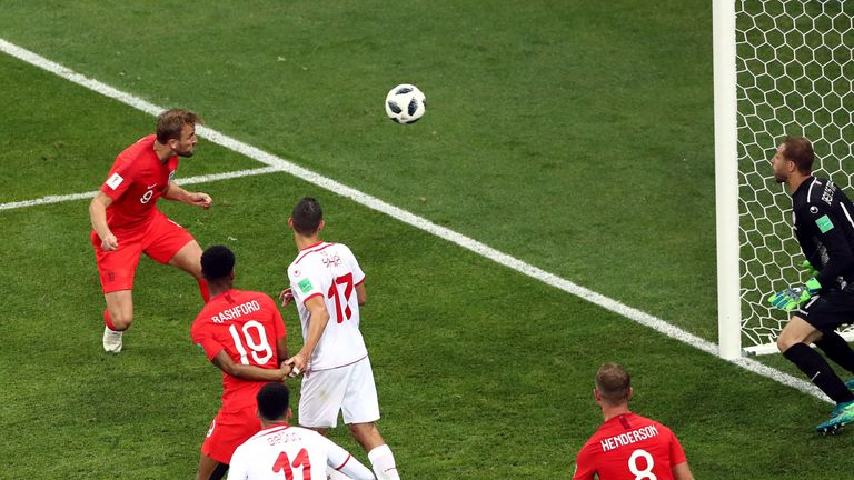 Harry Kane heads England's winner during the FIFA World Cup, Group G match against Tunisia