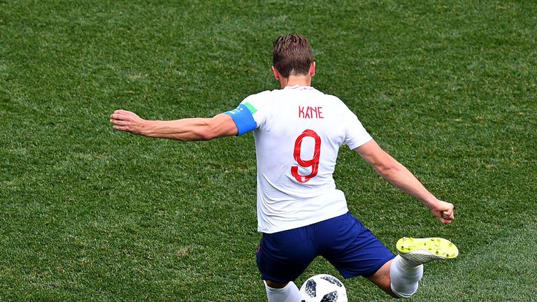 Harry Kane takes a penalty against Panama in the 2018 World Cup