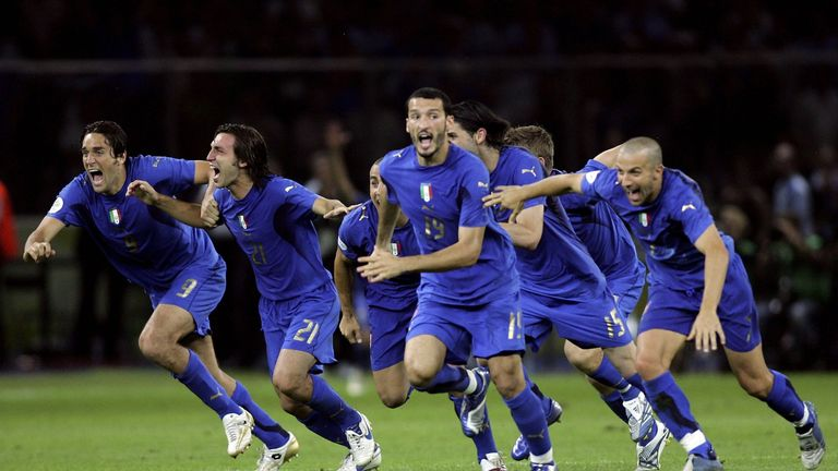 Italy celebrate after beating France on penalties