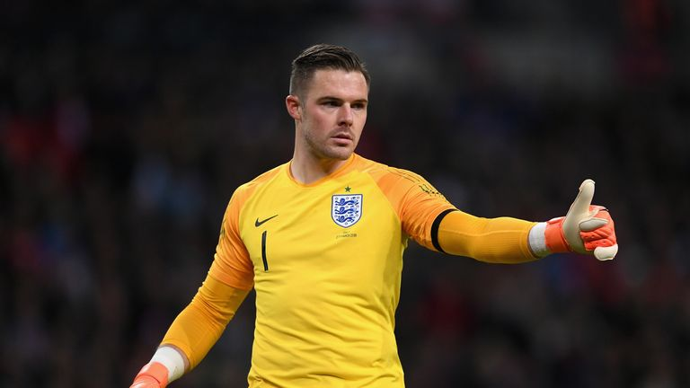 Jack Butland during the International friendly between England and Italy at Wembley Stadium on March 27, 2018 in London, England.