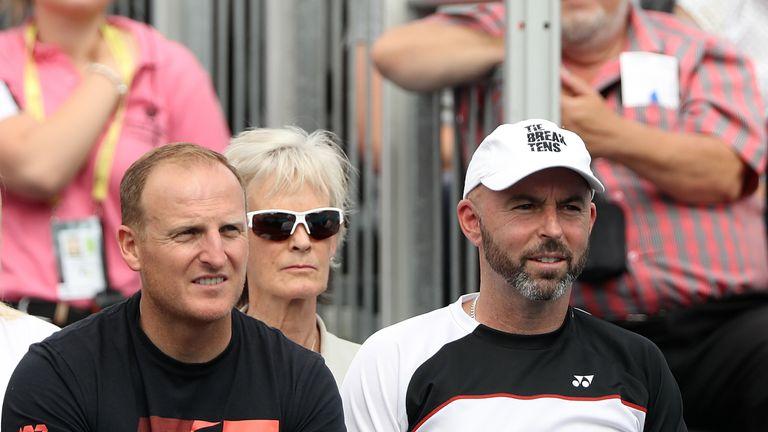 Andy Murray's coach Jamie Delgado (right) looks on alongside Matt Little and Judy Murray