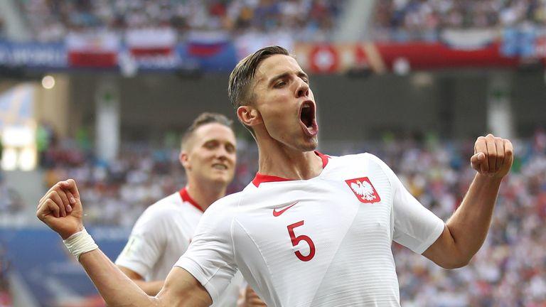 Jan Bednarek celebrates his goal