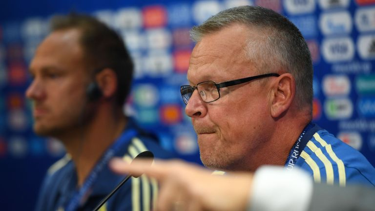 Sweden's defender Andreas Granqvist (L) and Sweden's coach Janne Andersson attend a press conference at the Nizhny Novgorod Stadium in Nizhny Novgorod on June 17, 2018 on the eve of the Russia 2018 World Cup Group F football match between Sweden and South Korea