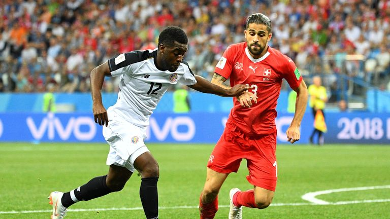 Costa Rica's forward Joel Campbell (L) vies for the ball with Switzerland's defender Ricardo Rodriguez during the Russia 2018 World Cup Group E football match at the Nizhny Novgorod Stadium in Nizhny Novgorod on June 27, 2018