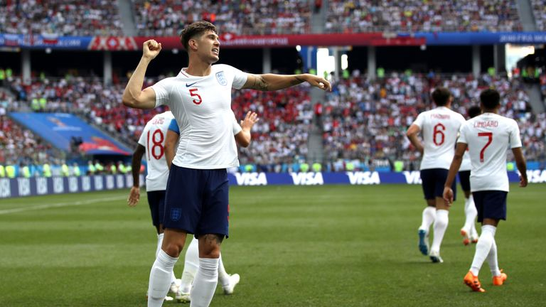 John Stones celebrates his goal