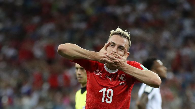 Josip Drmic of Switzerland celebrates after scoring his team's second goal during the 2018 FIFA World Cup Russia group E match between Switzerland and Costa Rica at Nizhny Novgorod Stadium on June 27, 2018